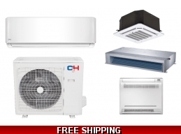 C&H 9000 BTU Ductless Heat Pump AC Cassette Ducted Console Options